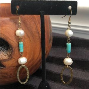 Jewelry - Faux Pearl and Turquoise Dangle Earrings